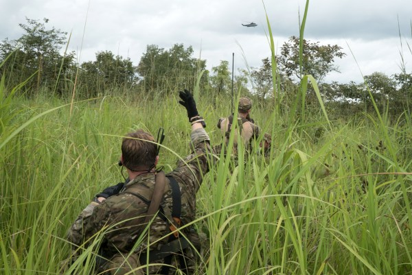 Image: Green berets prepare for extraction at the end of their patrol in central Africa