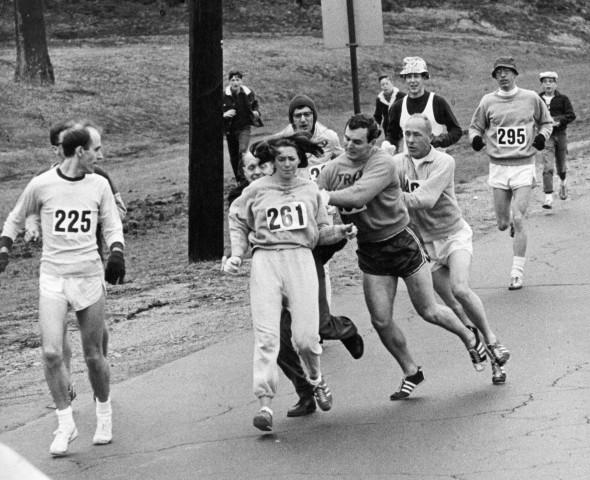 Image: Jock Semple tries to stop Kathrine Switzer from running in the Boston marathon