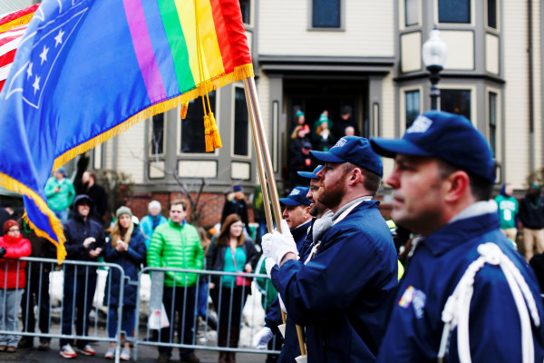 Image: FILE PHOTO - The color guard for LGBT veterans group OutVets marches down Broadway during the St. Patrick's Day Parade in South Boston
