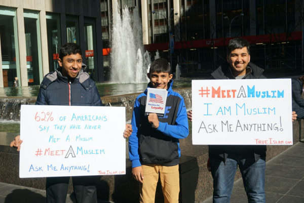 "Image: On Saturday, March 11th, Muslim male youth from the Ahmadiyya Muslim Youth Association (AMYA) USA will hold the inaugural ""National #MeetAMuslim Day."""