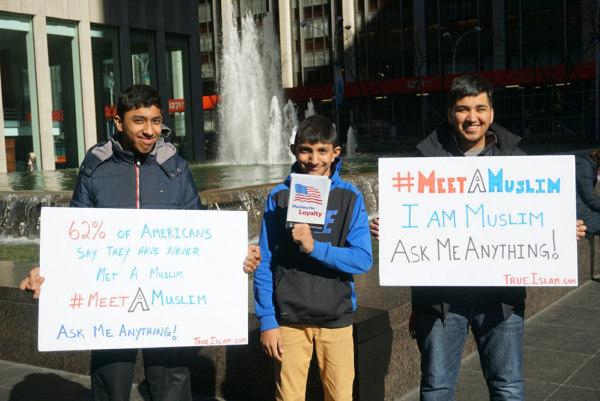 "Image: On Saturday, March 11th, Muslim male youth from the Ahmadiyya Muslim Youth Association (AMYA) USA will hold the inaugural ""National #MeetAMuslim Day."""