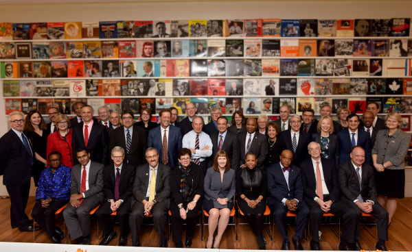 Michael Bloomberg with college presidents for American Talent Initiative
