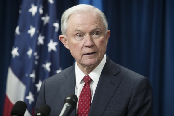 Image: Attorney General Jeff Sessions delivers remarks on an executive order