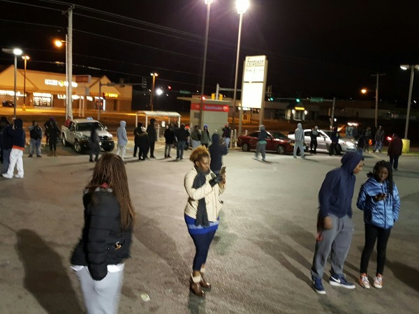 Image: Protest outside the Ferguson Market in Ferguson, Missouri, March 12, 2017.