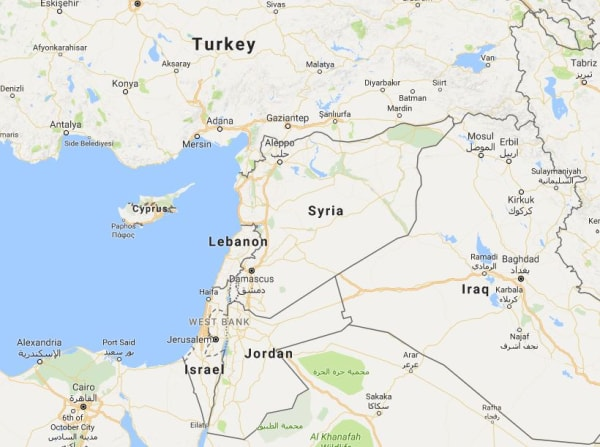 Image: Map showing Israel and Syria