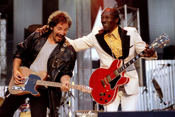 "Image: FILE PHOTO Bruce Springsteen and Chuck Berry perform ""Johnny B. Good"" to open The Concert for the Rock & Roll Hall of Fame"