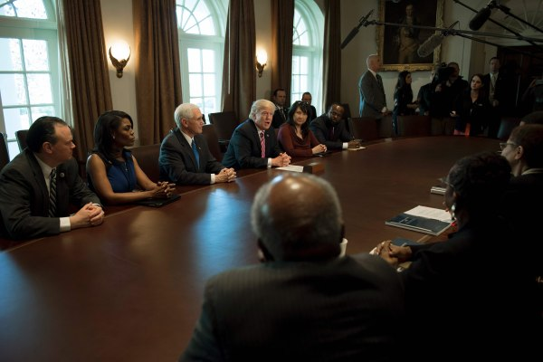 Image: US-POLITICS-TRUMP-BLACK CAUCUS
