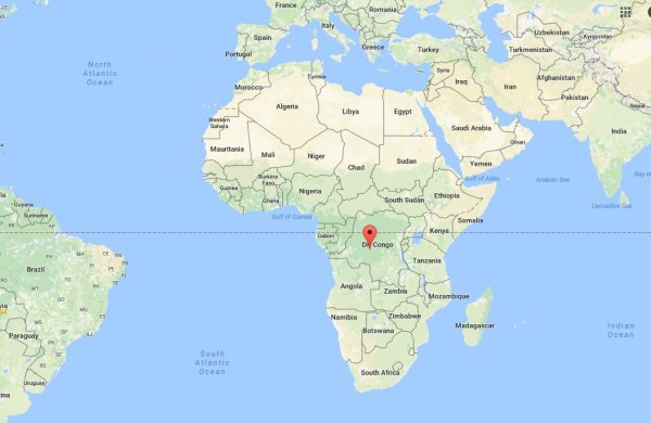 Image: Map showing the location of the Democratic Republic of Congo