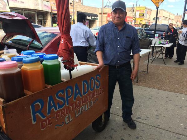 A raspa (sweetened shaved ice) vendor in Little Village, Chciago
