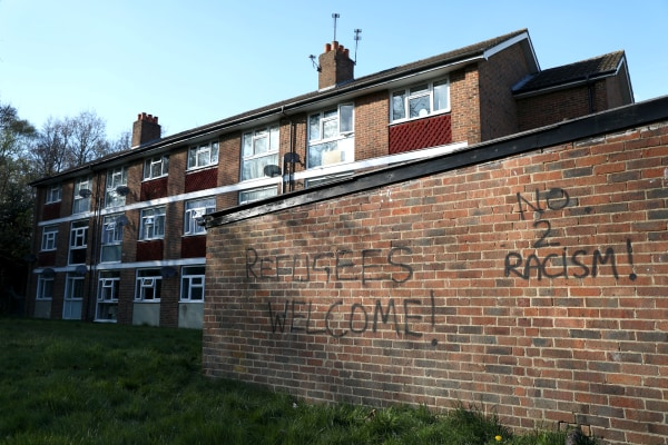Image: Graffiti is seen on a wall near the scene of a violent attack in Croydon, London