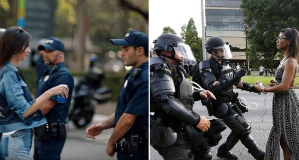 Image: Kendall Jenner in the new Pepsi ad (L) and Ieshia Evans during the Baton Rouge Protest (R)