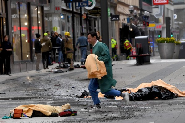 Image: At least 2 people are dead after a truck crashed into a crowd outside of a department store in downtown Stockholm, April 7, 2017.