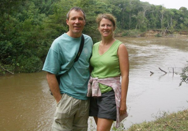 Image: Michelle Barnes and her husband Rick Taylor in Uganda
