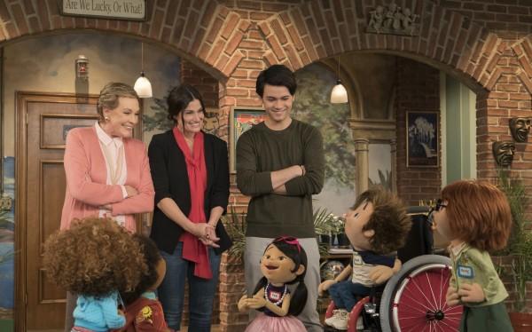 "Guests on ""Julie's Greenroom"" include Idina Menzel, Josh Groban, and Ellie Kemper."