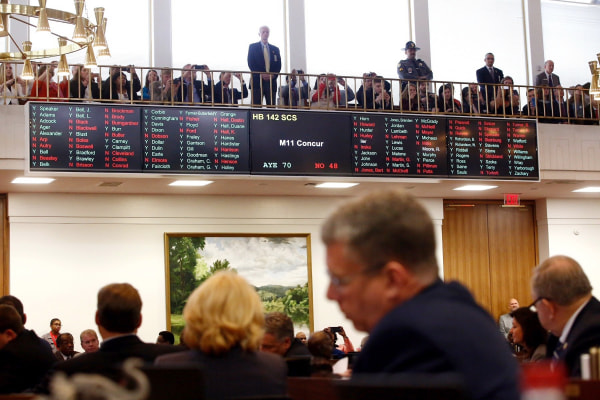 Image: The North Carolina state House debates prior to a vote on HB 142
