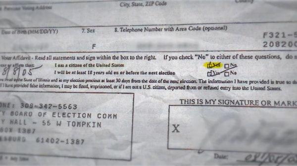 Image: Margarita Del Pilar Fitzpatrick's voter registration.