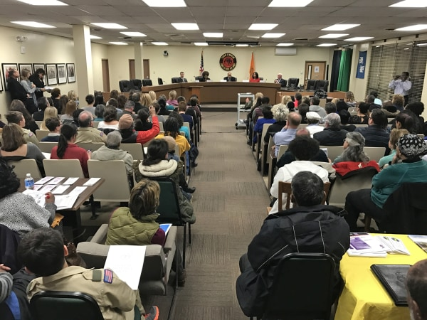 Image: Worried residents of Montclair, N.J., hold a special meeting on March 21 with local leaders