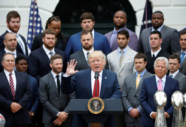 Image: President Donald Trump honors the Super Bowl champion New England Patriots at the White House in Washington