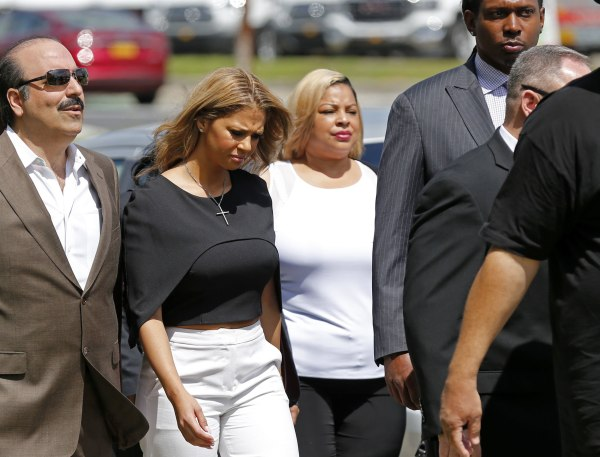 Image: Racquel Smith, widow of former New Orleans Saints star Will Smith, arrives at the Orleans Parish criminal courthouse