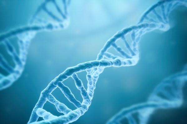 Image: DNA Strands on blue background