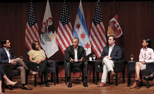 Image: Former US President Barack Obama speaks at a forum with young leaders