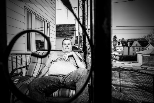 Tom Welkey retired warehouse worker at home in Wilkes-Barre, Pa.