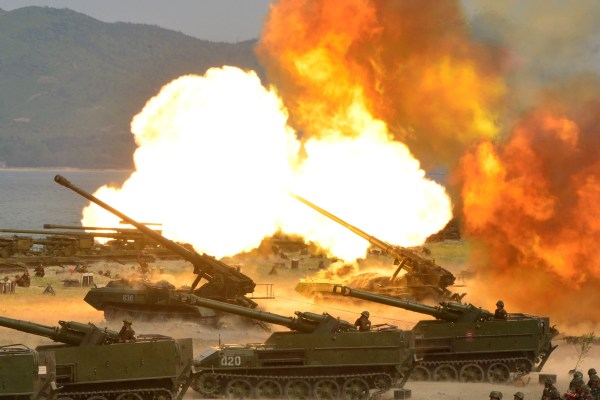 Image: A military drill marking the 85th anniversary of the establishment of the Korean People's Army