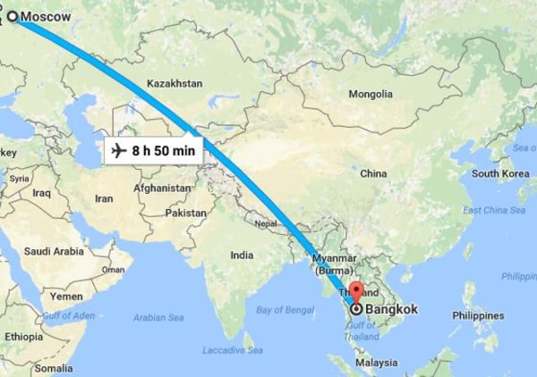 Image: The route of Flight SU270