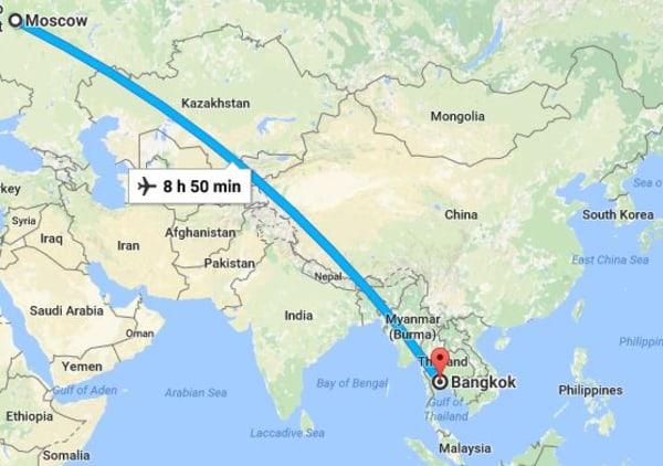 Image: The route of Flight SU270