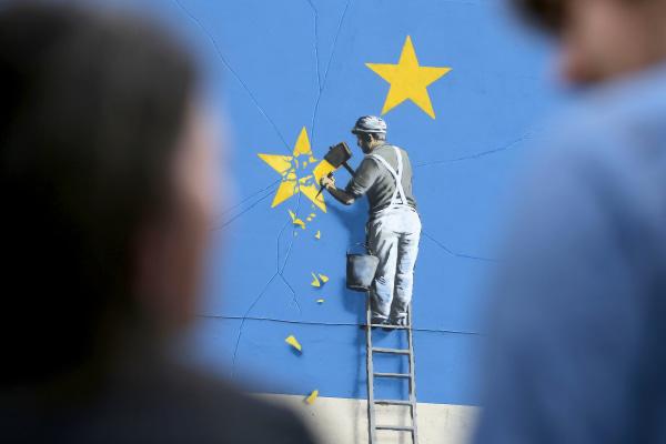 Image: British Graffiti Artist Banksy EU Theme Mural