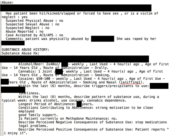 Redacted screengrab of leaked patient medical record from Bronx-Lebanon Hospital Center