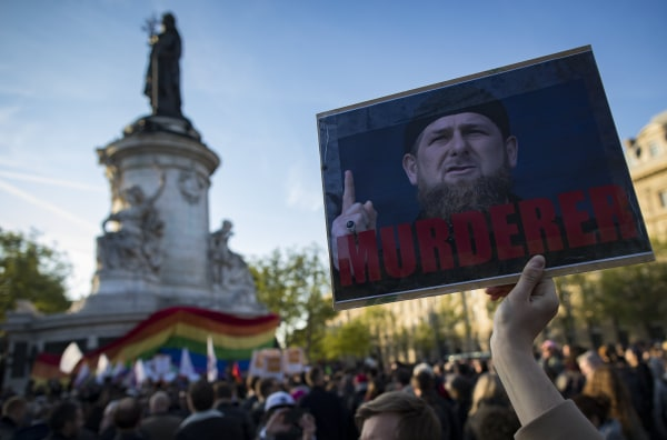 Image: Rally in Paris against Chechnya anti gay campaign