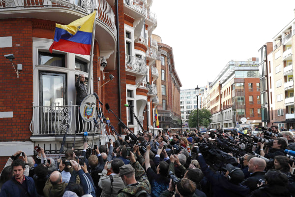 Image: Wikileaks founder Julian Assange speaks on the balcony of the Embassy of Ecuador in London