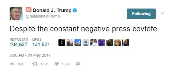 "Image: A tweet sent by President Donald Trump that contained the typo ""covfefe"""