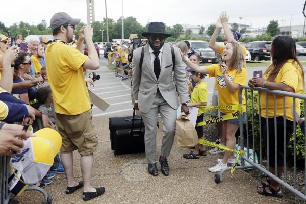 Image: P.K. Subban is greeted by Nashville Predators fans