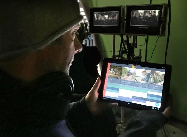 Image: A crew member uses ProductionPro on set