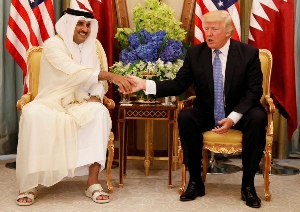 Image: Qatar's Emir Sheikh Tamim Bin Hamad Al Thani and President Donald Trump in Riyadh