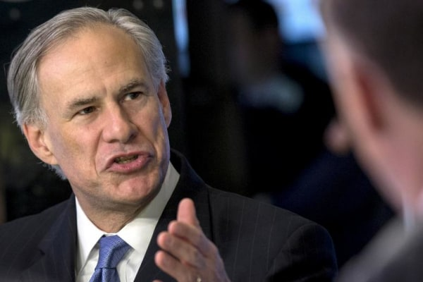 FILE PHOTO: Texas governor Greg Abbott speaks during an interview on the floor of the New York Stock Exchange
