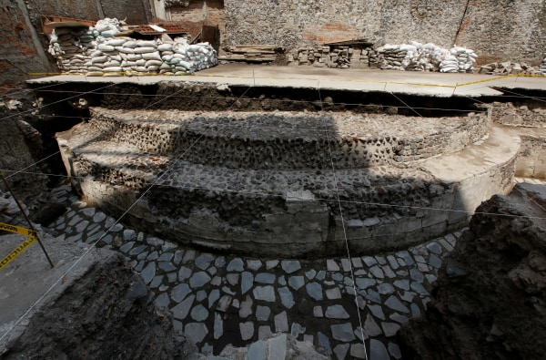 Image: A new Aztec discovery of the remains of the main temple of the wind god Ehecatl, a major deity, is seen during a tour of the area, located just off the Zocalo plaza in the heart of downtown Mexico City
