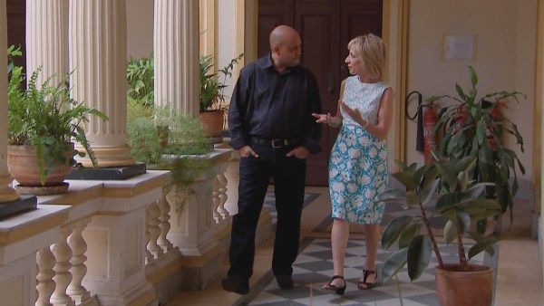Image: Miguel Gutierrez with Andrea Mitchell.