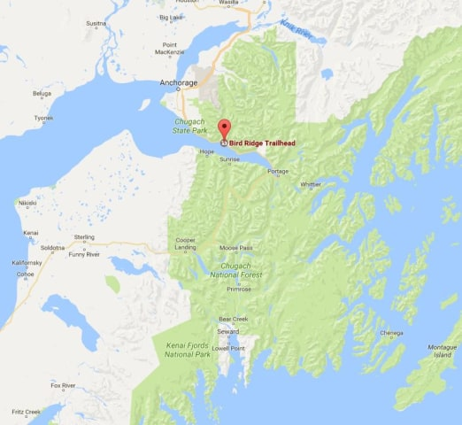 Image: A map showing location of Alaska's Bird Ridge Trailhead