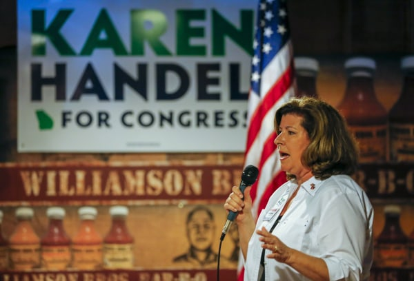 Image: Karen Handel campaigns in Marietta, Georgia