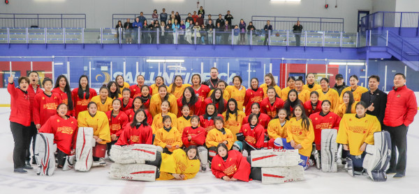 A group of hockey players of Chinese descent at a training camp hosted by China's national hockey team.