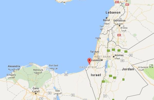 Image: A map showing location of Gaza