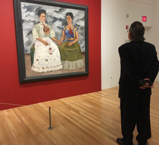 The iconic painting Las Dos Fridas/The Two Fridas is part of a 2017 exhibit at the Dallas Museum of Art