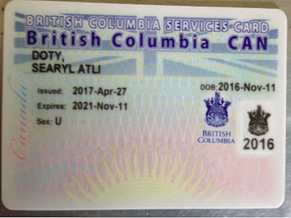 IMAGE: Searyl Atli Doty was issued a gender-less health card from the British Columbia Medical Services Plan (MSP)
