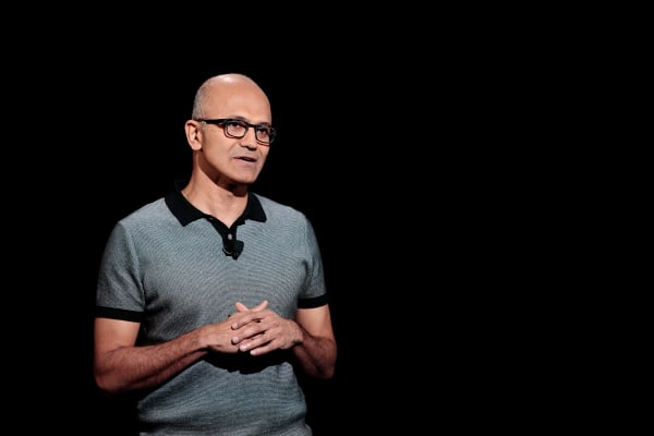 Image: Satya Nadella, chief executive officer of Microsoft, speaks during a Microsoft launch event