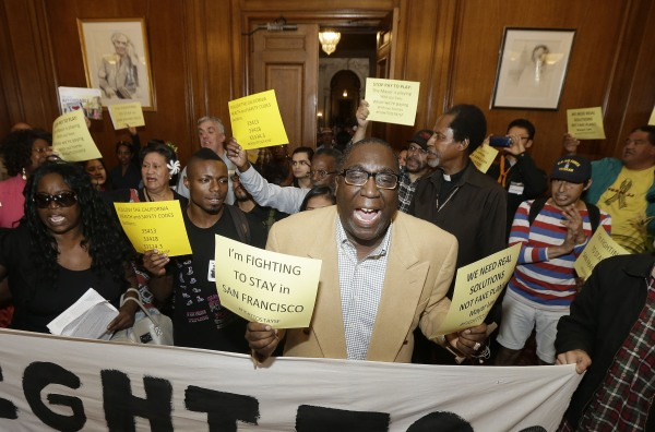 Image: Protesters outside of Mayor Ed Lee's office