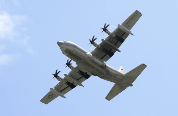 Image: A US Navy KC-130 military plane
