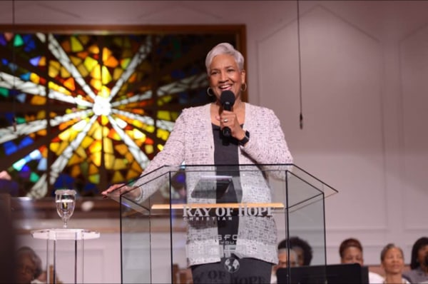 Image: Rev. Dr. Cynthia Hale, Pastor of Ray of Hope Christian Church preaching.